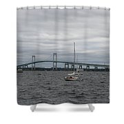 Newport Bridge With Newport Harbor Light Shower Curtain