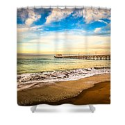 Newport Pier Photo In Newport Beach California Shower Curtain by Paul Velgos