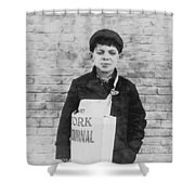 Newspaper Boy Shower Curtain