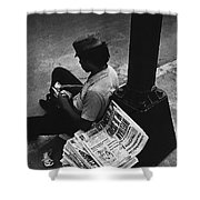 Newspaper Boy Mexico City D.f. Mexico 1970 Shower Curtain