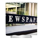 Newspapers Stand Sign In Chicago Shower Curtain by Paul Velgos