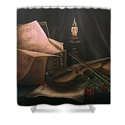 Next To Bach's Musical Scores Shower Curtain