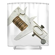 ng Pennies For Savings On White Background Shower Curtain