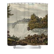 Niagara Falls Circa 1829 Shower Curtain by Aged Pixel