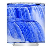 Niagara Falls Closeup In Blue Shower Curtain