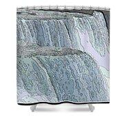 Niagara Falls Contour Drawing Effect Shower Curtain