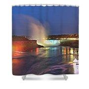 Niagara Falls Night Lights Panorama Shower Curtain