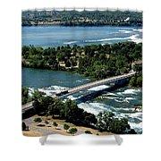 Niagara River And Goat Island Aerial View Shower Curtain