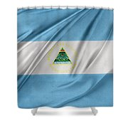 Nicaraguan Flag Shower Curtain by Les Cunliffe