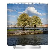 Nieuwe Maas River Waterfront In Rotterdam Shower Curtain
