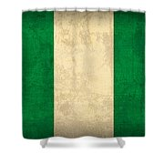 Nigeria Flag Vintage Distressed Finish Shower Curtain