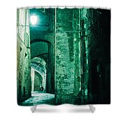 Night Alley In Old City Of Siena Tuscany Italy Shower Curtain