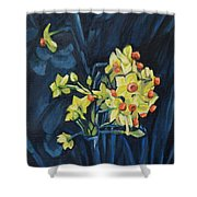 Night And Flowers Shower Curtain