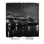 Night At Waterworks In Black And White Shower Curtain
