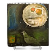 Night Bird Harvest Moon Shower Curtain