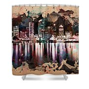 Night City Reflections Watercolor Painting Shower Curtain