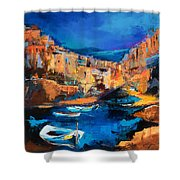 Night Colors Over Riomaggiore - Cinque Terre Shower Curtain by Elise Palmigiani