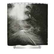 Night Driving On The Bells Line Of Road Shower Curtain