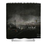 Night Driving - Stanhope Parkway Shower Curtain