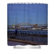 Night Falling Over The East River - Manhattan Shower Curtain