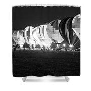 Night Glow Hot Air Balloons Bw Shower Curtain