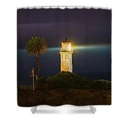 Night Lighthouse On The Bluff Shower Curtain