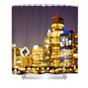 Night Lights - Abstract Chicago Skyline Shower Curtain