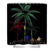 Night Lights Electric Palm Trees Shower Curtain
