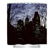 Night Lights Empire State Two Trees Shower Curtain