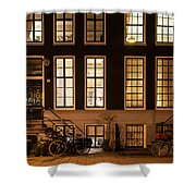 Night Lights In Amsterdam. Holland Shower Curtain