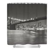 Night - New York City - Brooklyn Bridge Shower Curtain