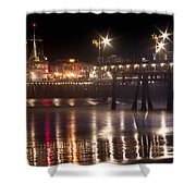 Night On Santa Monica Beach Pier With Bright Colorful Lights Reflecting On The Ocean And Sand Fine A Shower Curtain