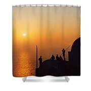 Night On Santorini Island  Shower Curtain