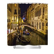 Night On The Canal - Venice - Italy Shower Curtain