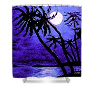 Night On The Islands Painterly Brushstrokes Shower Curtain