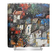 Night Over The Town Shower Curtain