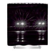 Night Pier Purple Shower Curtain