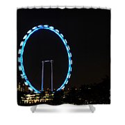 Night Shot Of The Singapore Flyer Ferris Wheel At Marina Bay Shower Curtain