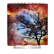 Night Sky Landscape Art By Sharon Cummings Shower Curtain