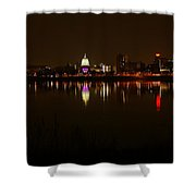 Night Skyline Harrisburg Pa Pink Lights Shower Curtain