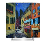 Night Street In Pula Shower Curtain
