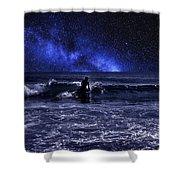 Night Surfing Shower Curtain