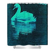 Night Swan L Shower Curtain