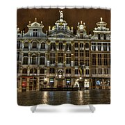 Night Time In Grand Place Shower Curtain