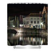 Night Time On The Canal Shower Curtain