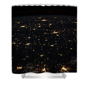 Night Time Satellite Image Of Cities Shower Curtain