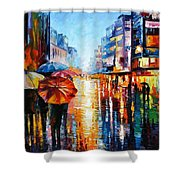 Night Umbrellas - Palette Knife Oil Painting On Canvas By Leonid Afremov Shower Curtain