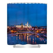 Night View Of Moscow Kremlin In Wintertime - Featured 3 Shower Curtain