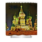 Night View Of Saint Basil Cathedral In Red Square In Moscow-russia Shower Curtain