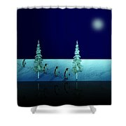 Night Walk Of The Penguins 2.5 Shower Curtain